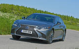 Lexus LS500h 2018 road test review front on the road