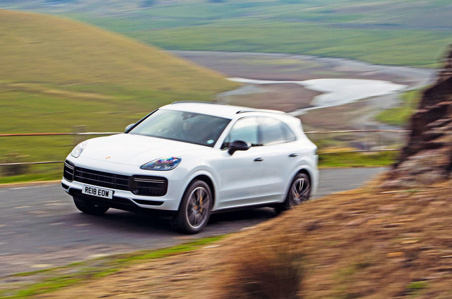Porsche Cayenne Turbo 2018 road test review on the road action