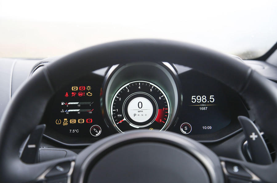 Aston Martin Vantage 2018 review instrument cluster