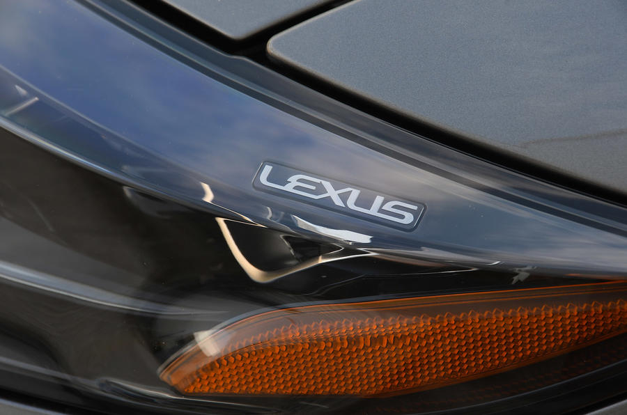 Lexus LS500h 2018 road test review headlight detail