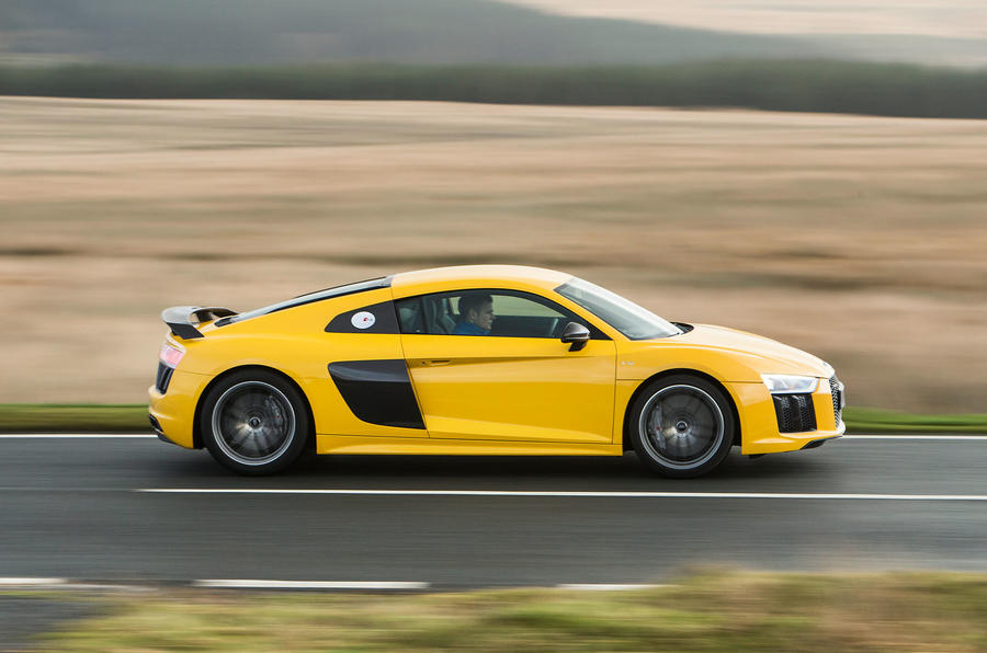 The Audi R8's needle rushes promptly to the 8700rpm redine