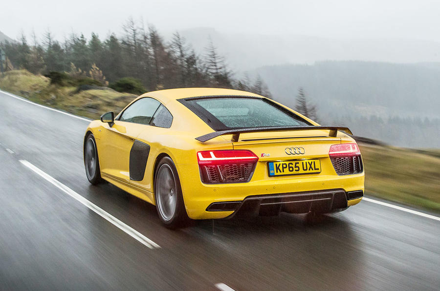 This Audi R8 on test was fit with Inglostadt's finest V10 engine