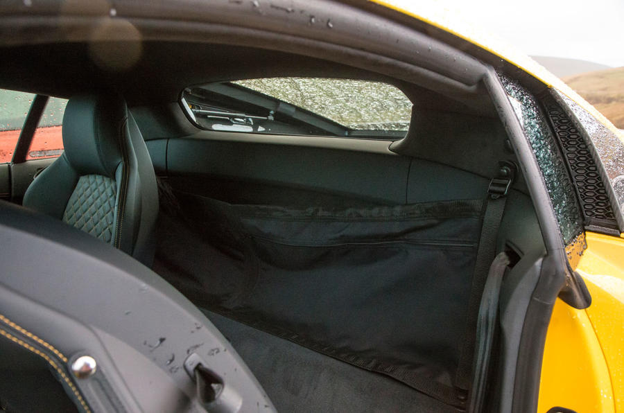The rear seats in the Audi R8 V10 Plus