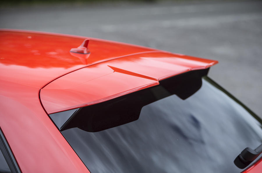 Rear spoiler on the Audi RS3