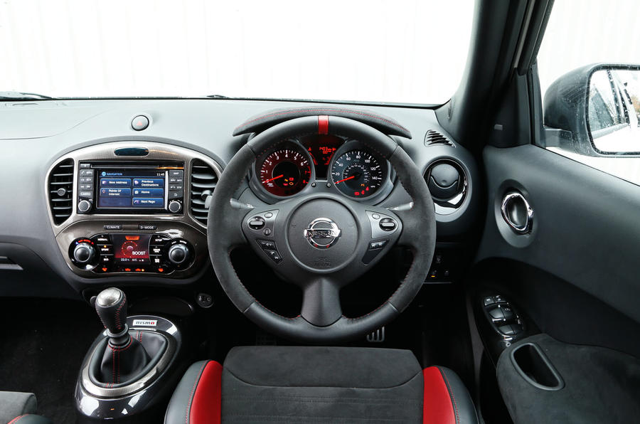 From the driver's perspective in the Nissan Juke Nismo RS
