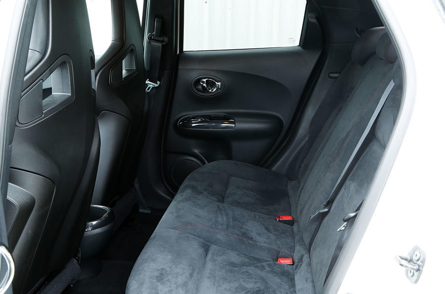 The rear seats in the Nissan Juke Nismo RS