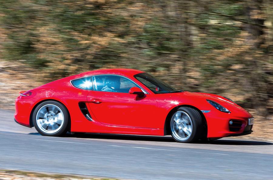 Porsche Cayman hard cornering